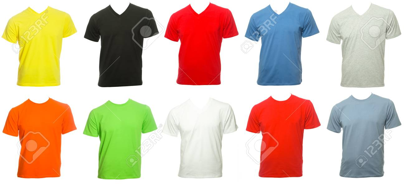 Various Colored Plain Short Sleeve Cotton T-Shirt Templates Isolated