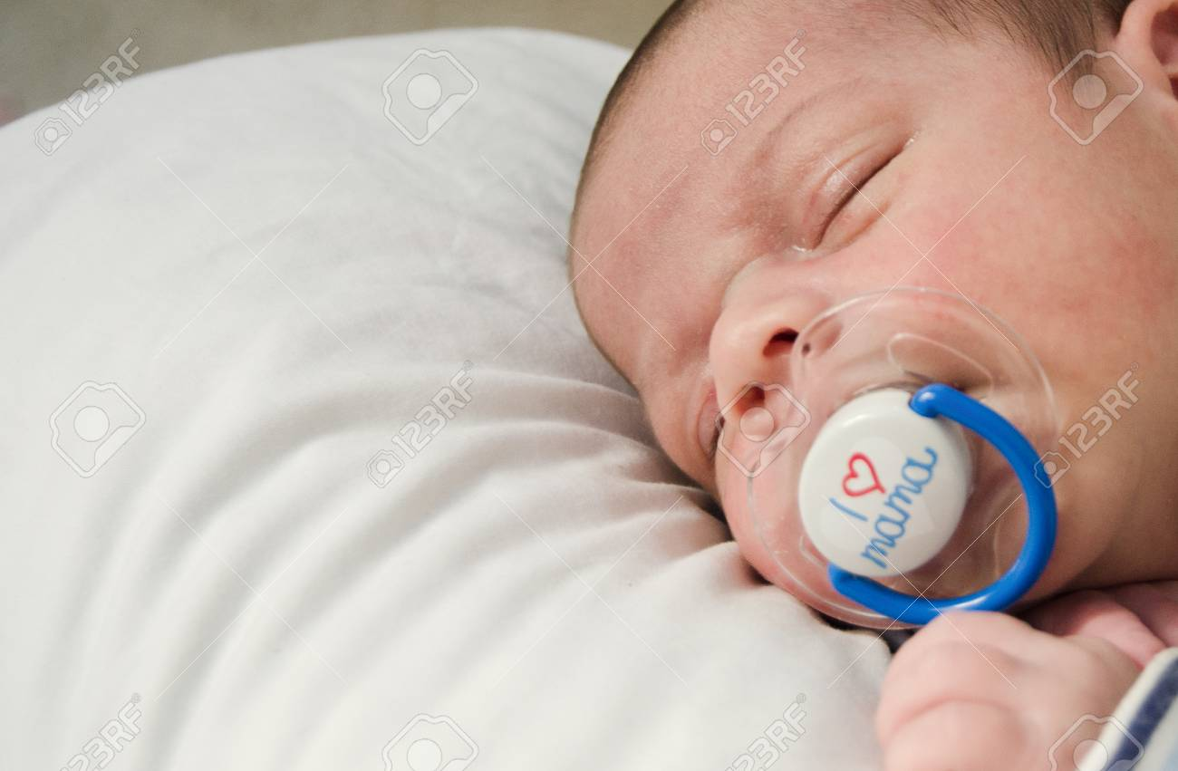 Newborn Babies For Dummies Two Weeks Old Newborn Baby Boy Sleeping With Dummy In Mouth I