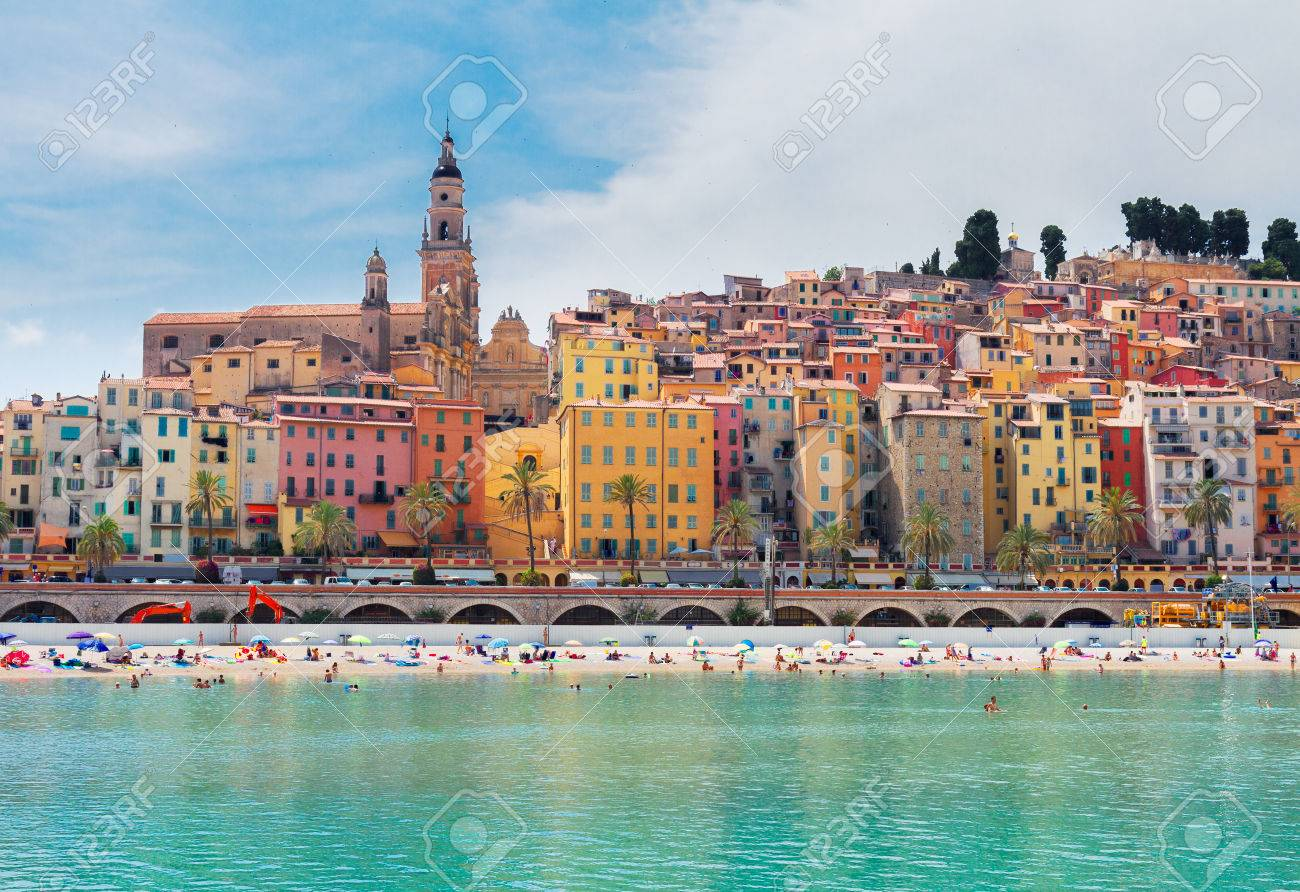 Menton Francia Colorful Houses And Beach Of Menton Old Town France