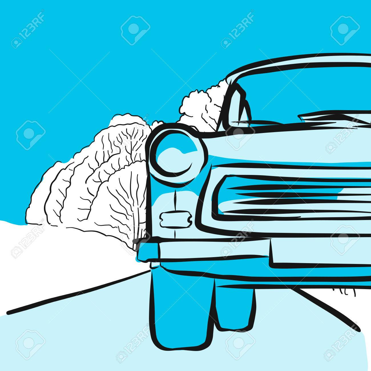 Trabant Clipart Trabant In Winter On Icy Road Hand Drawn Vector Artwork