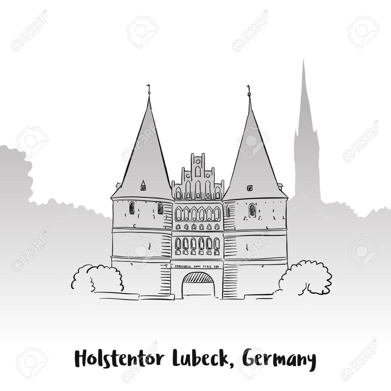 Lübeck Card Holstentor Lubeck Greeting Card Hand Drawn Vector Outline Sketch
