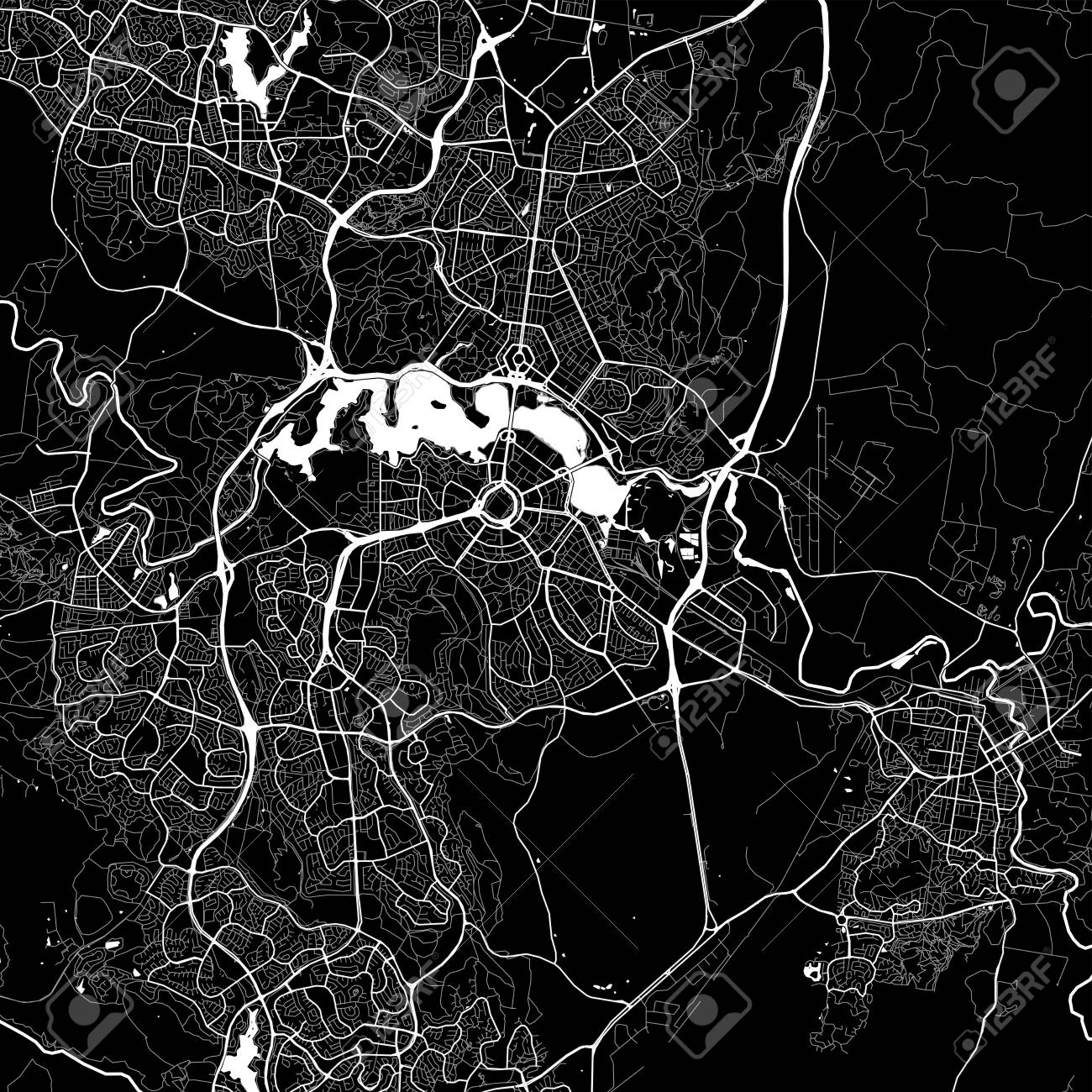Map Of Canberra Area Map Of Canberra Australia Dark Background Version For
