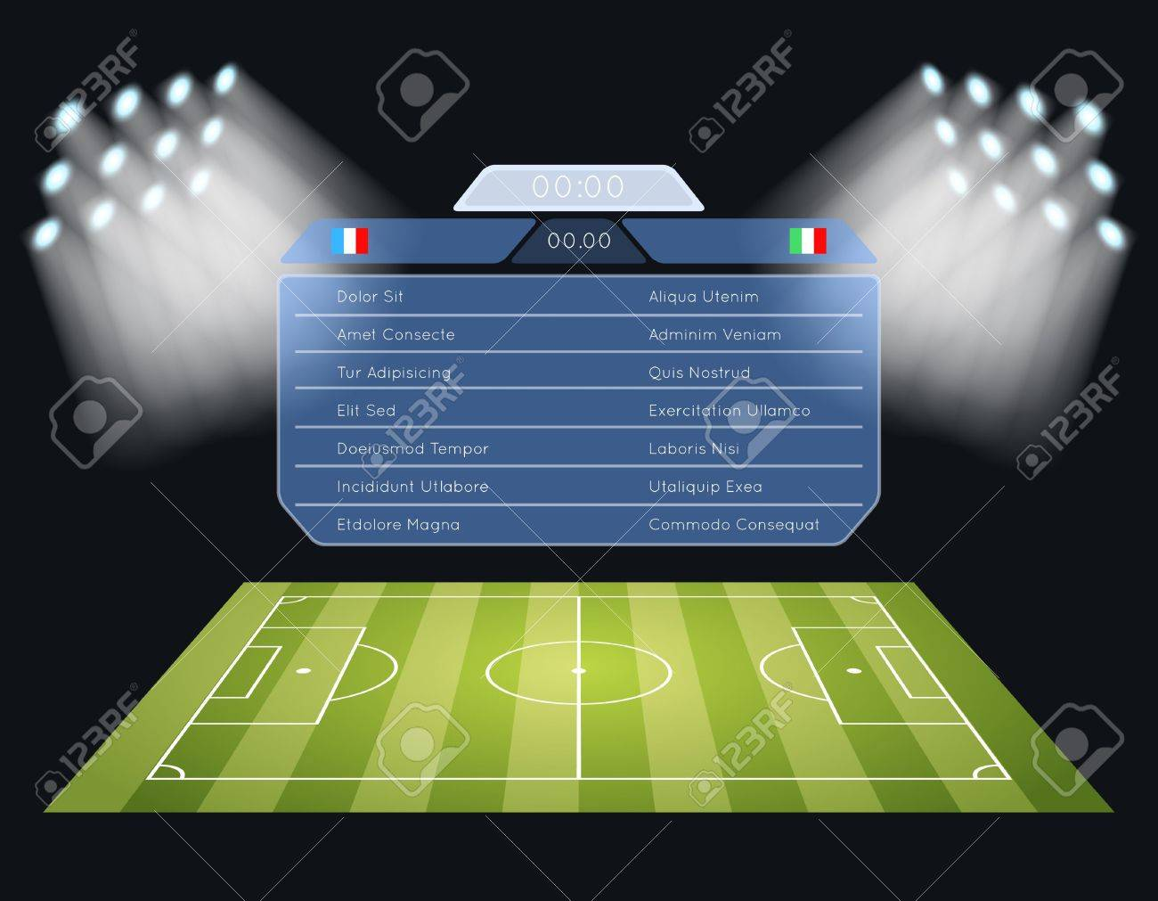 Eclairage Stade De Foot Floodlighting Terrain De Soccer Tableau De Bord Spotlight Et L éclairage Le Sport Match De Football Le Stade Et La Concurrence Championnat Vector