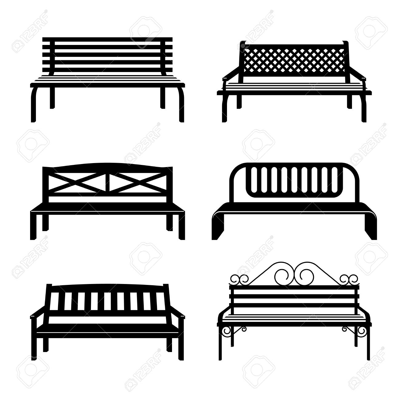 Black Bench Vector Benches Benches Black Silhouettes Bench Street For City