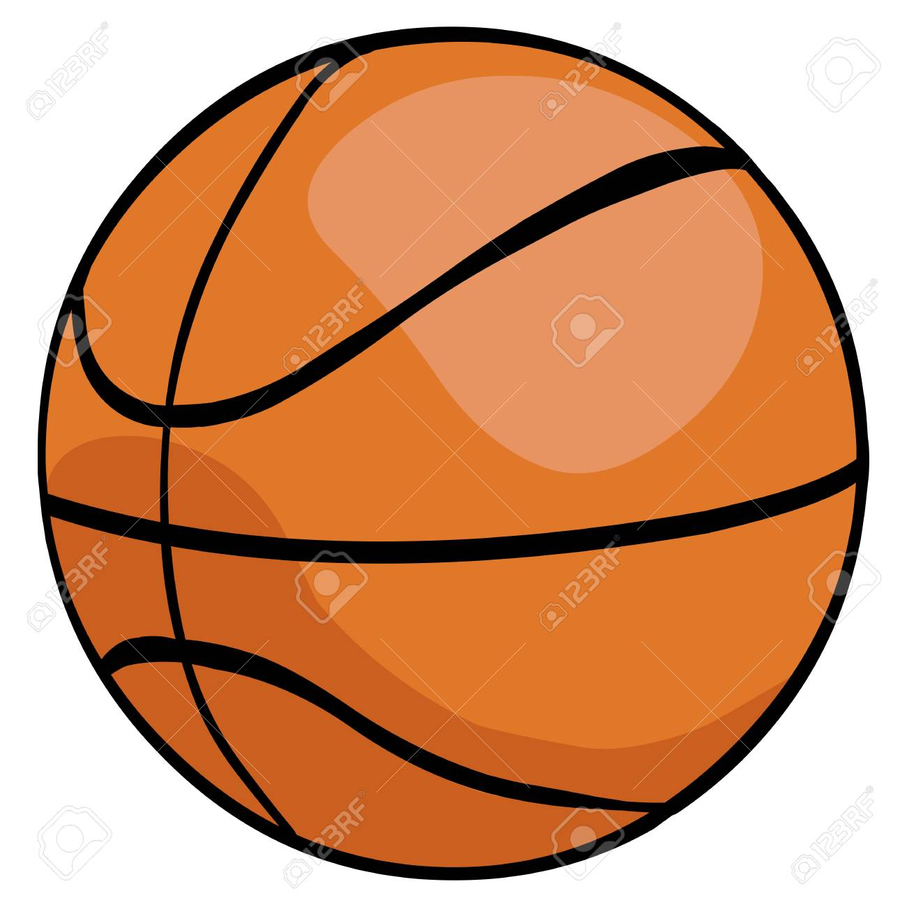 Basketball Ball Vector Single Cartoon Basketball Ball On White Background