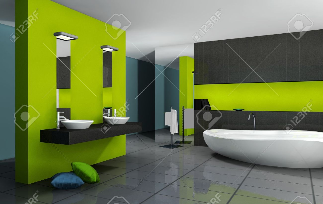 Badezimmer Modern Grün Stock Photo