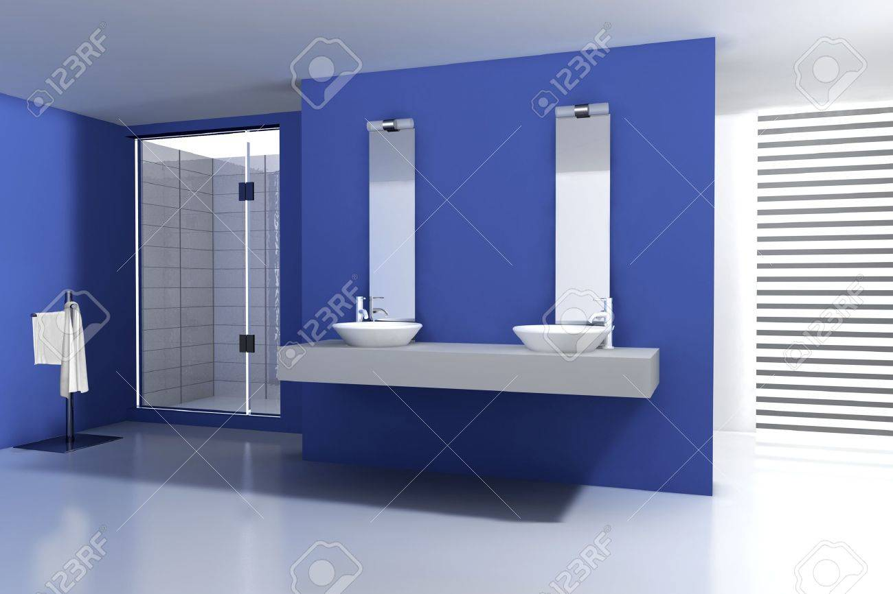 Badezimmer Blau Stock Photo