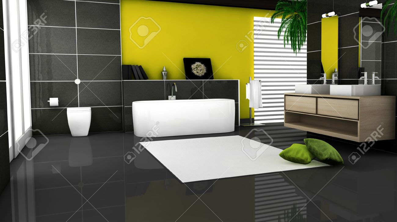 Badezimmer Granit Fliesen Stock Photo