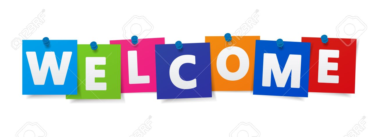 Welcome Word And Sign On Colorful Paper Notes Vector EPS 10