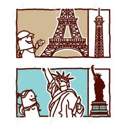 Small Crop Of Eiffel Tower Cartoon