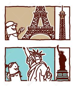 Indoor Vector Vector Hand Drawn Cartoon Characters Eiffel Tower Sttue Ofliberty Vector Hand Drawn Cartoon Characters Eiffel Tower Sttue Eiffel Tower Cartoon Eiffel Tower Cartoon 3d