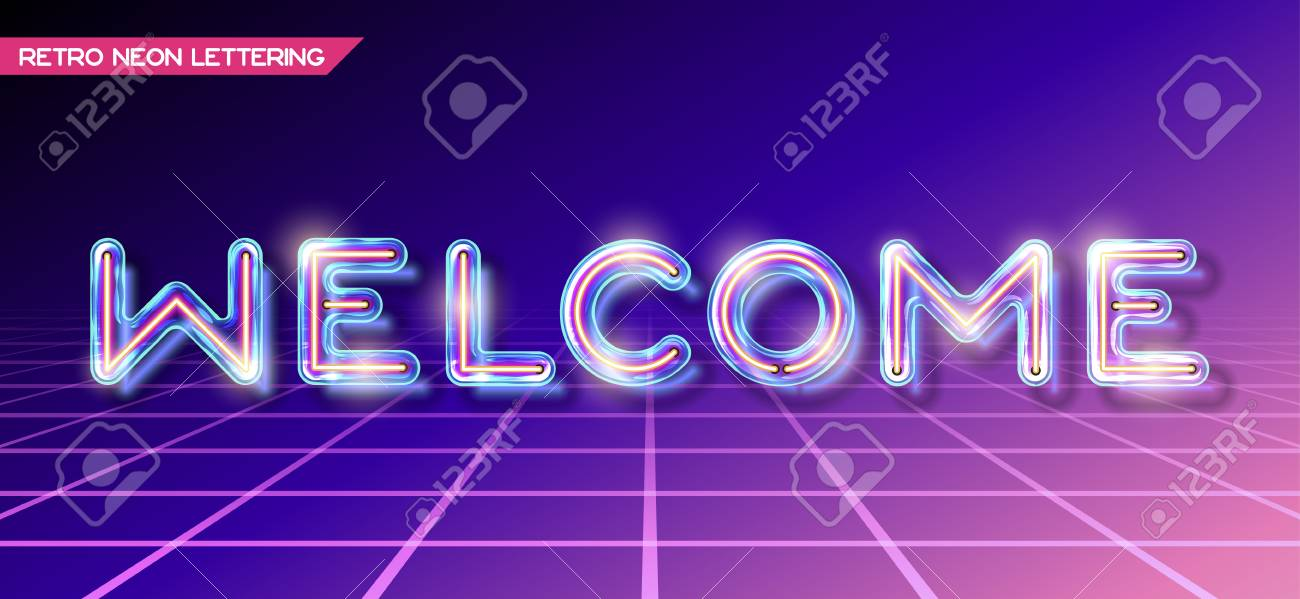 Retro Neon Glowing Glass WELCOME Lettering With Transparency