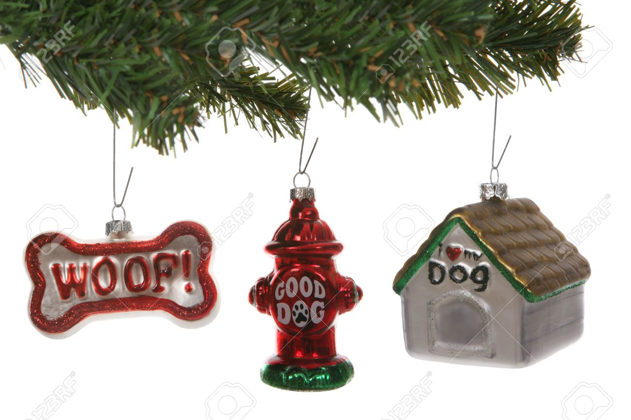 Dog themed christmas ornaments on a tree over white stock photo 2371073