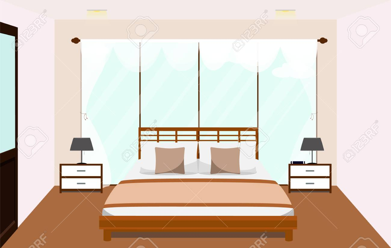 Bedroom Interior With Furniture Glass Window Vector Flat Illustration Royalty Free Cliparts Vectors And Stock Illustration Image 79981403