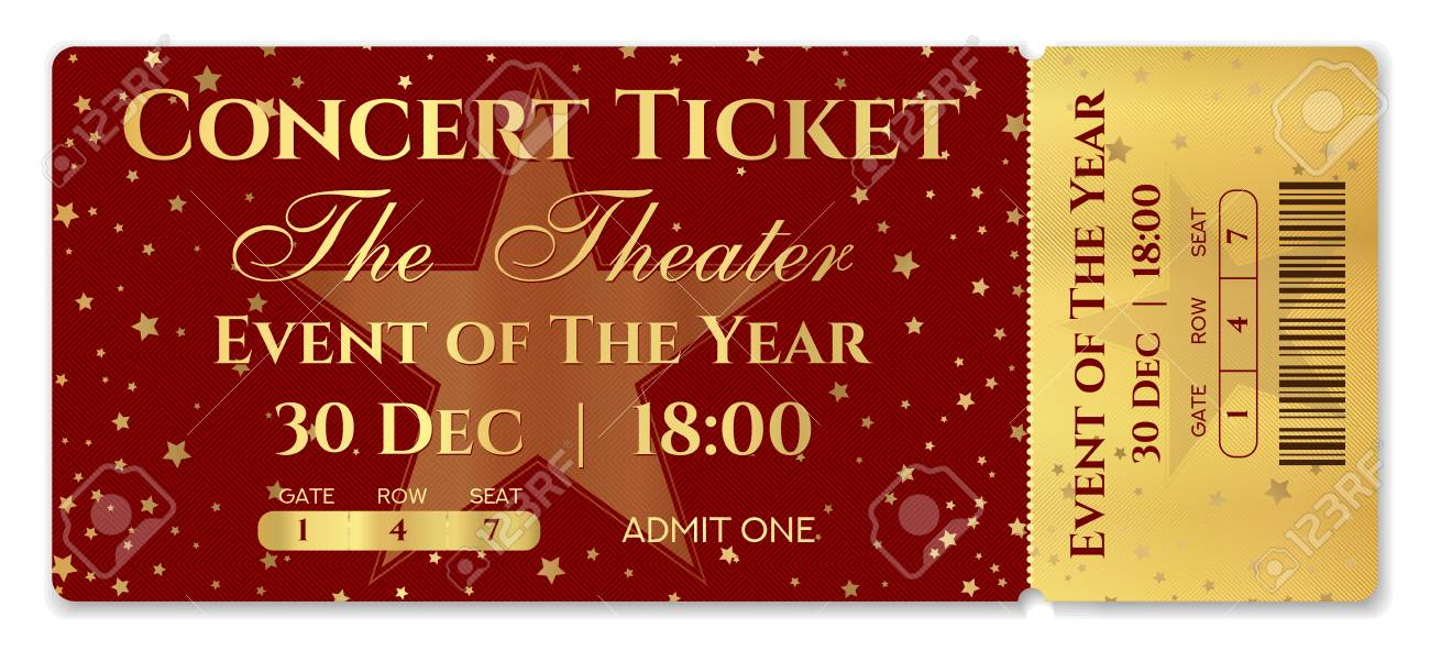 Admission Ticket Template Vector Mockup Concert Ticket (tear-off