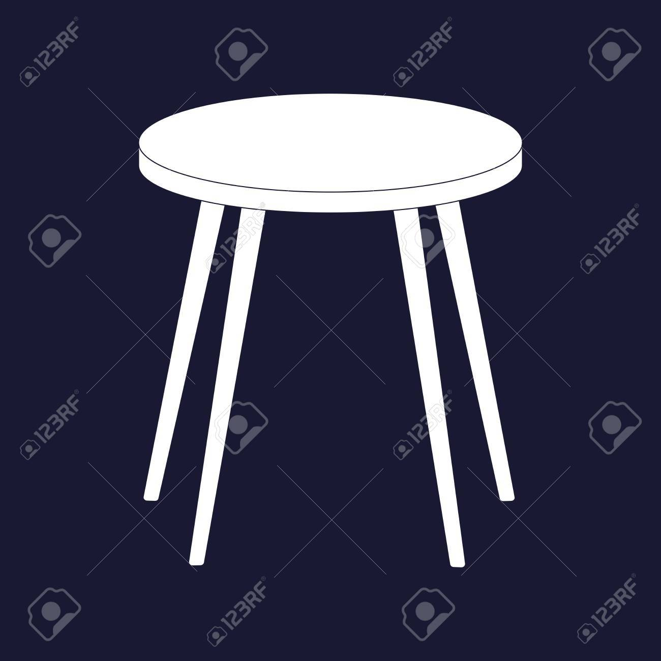Stool Chair Vector Image Icon Stool Chair Icon Vector White Icon On Dark