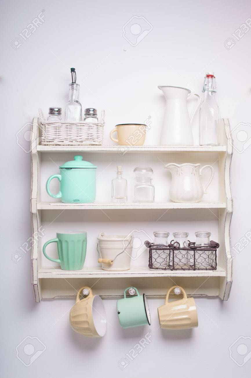 Vintage Shelf In The Kitchen Shabby Chic Style Yellow And Green Stock Photo Picture And Royalty Free Image Image 42342798