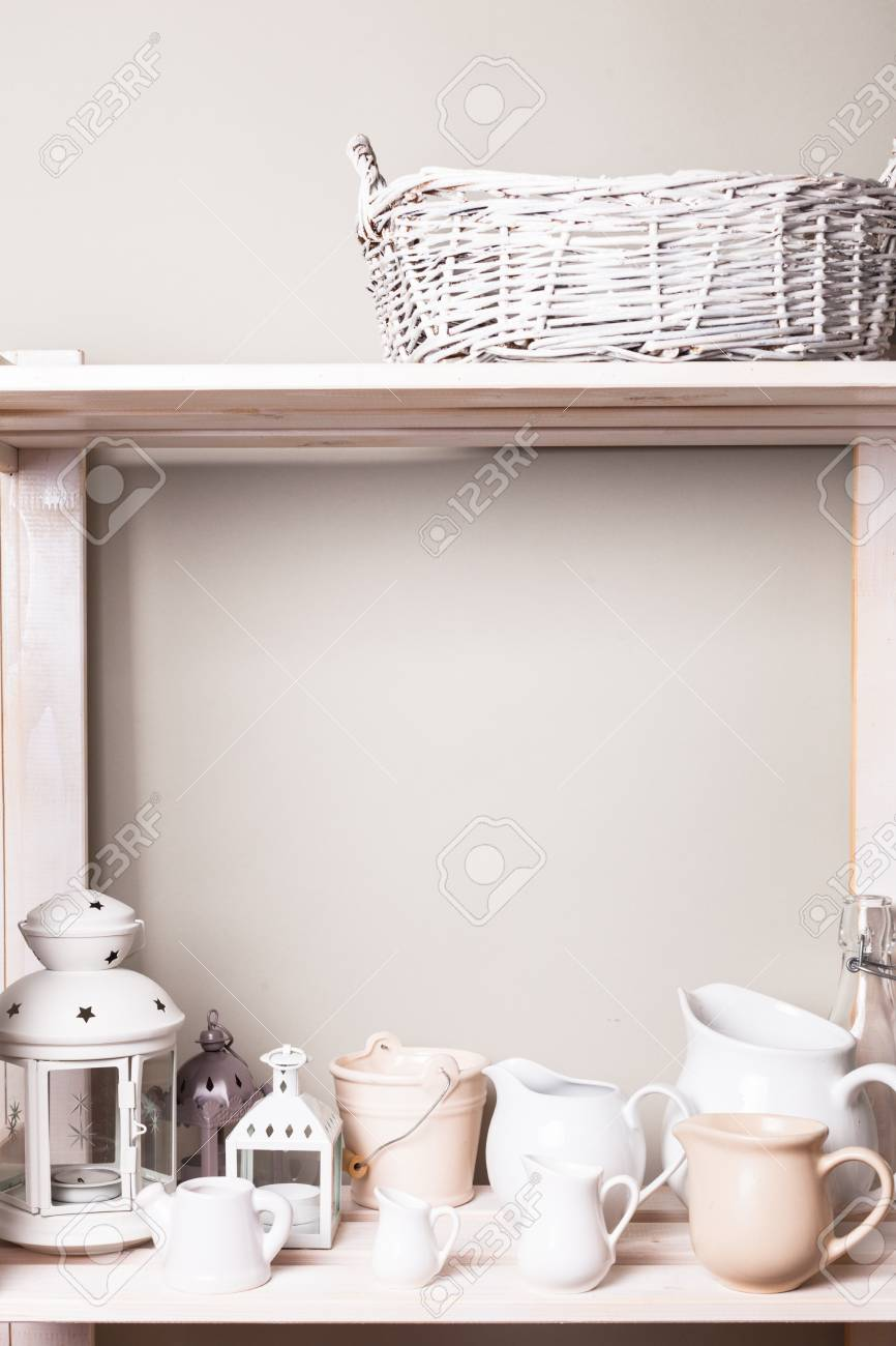 Shelves In The Rack In The Kitchen At Shabby Chic Style Stock Photo Picture And Royalty Free Image Image 49509878