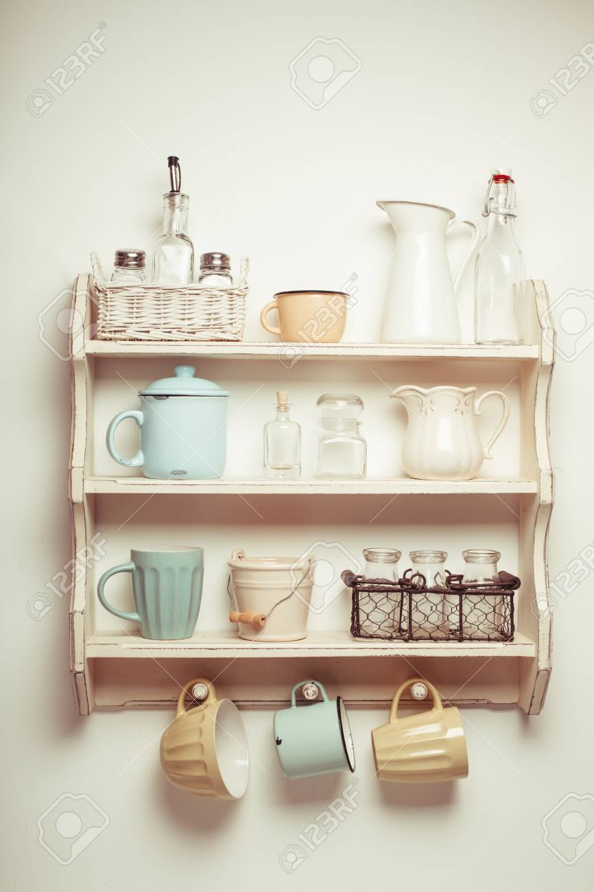Cucina Stile Shabby Vintage Shelf In The Kitchen Shabby Chic Style Retro Toned Stock