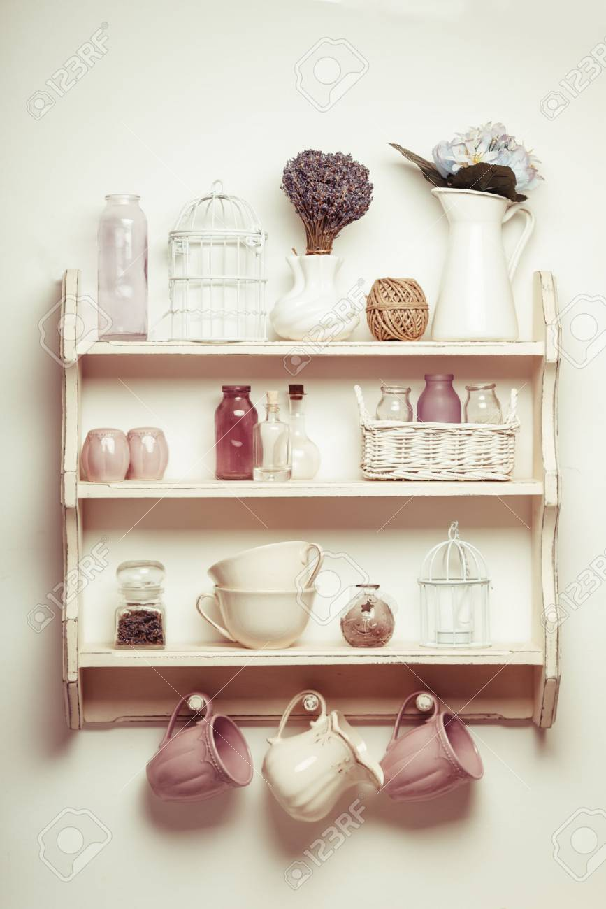 Vintage Shelf In The Kitchen Shabby Chic Style With Lavender Stock Photo Picture And Royalty Free Image Image 56629734
