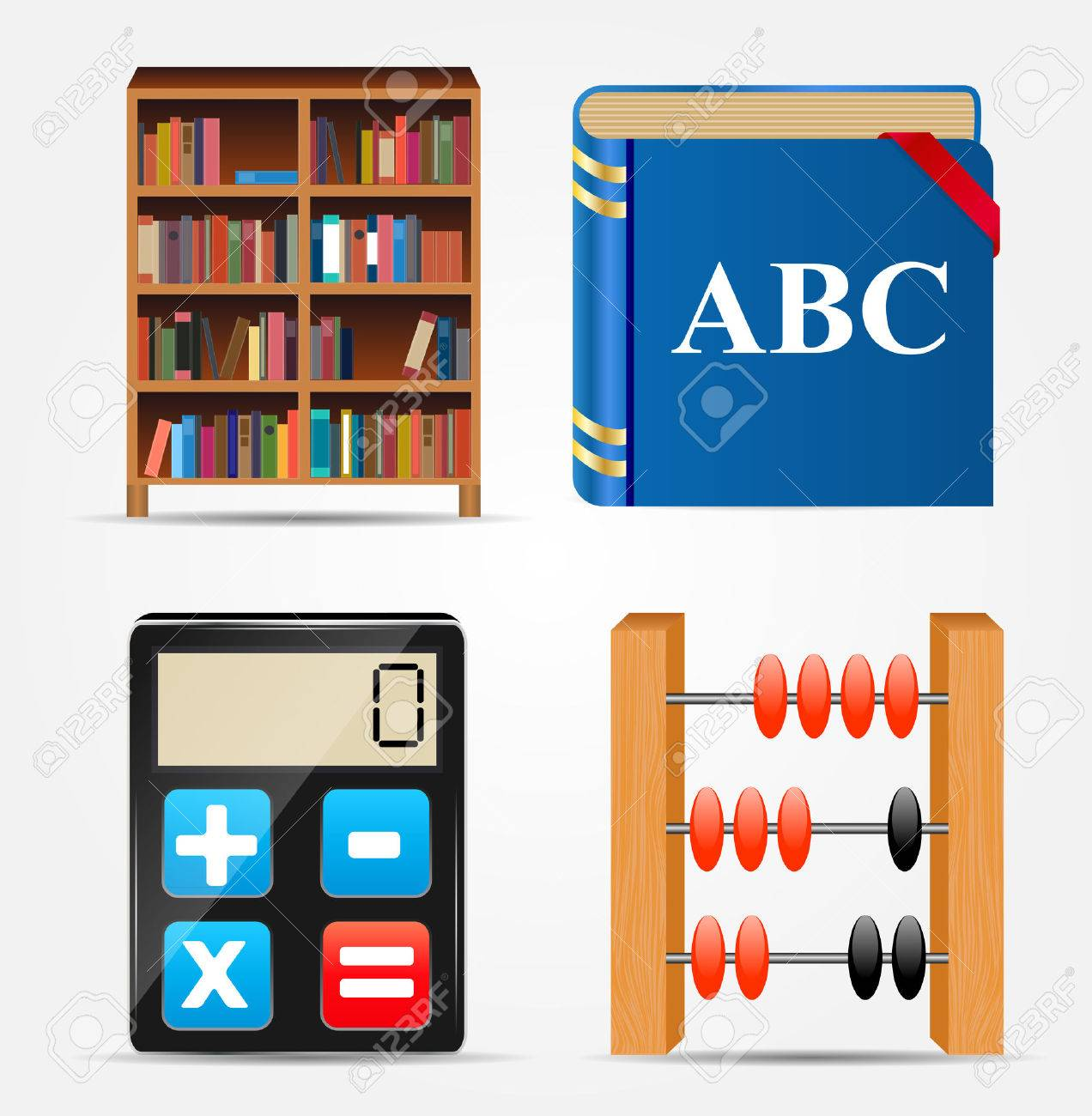 Libreria Abacus Bookcase Notepad Calculator Abacus Icon Vector Illustration