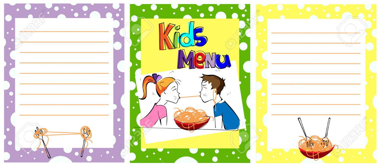 Cute Colorful Kids Meal Menu Template Comic Kids Eating Spaghetti