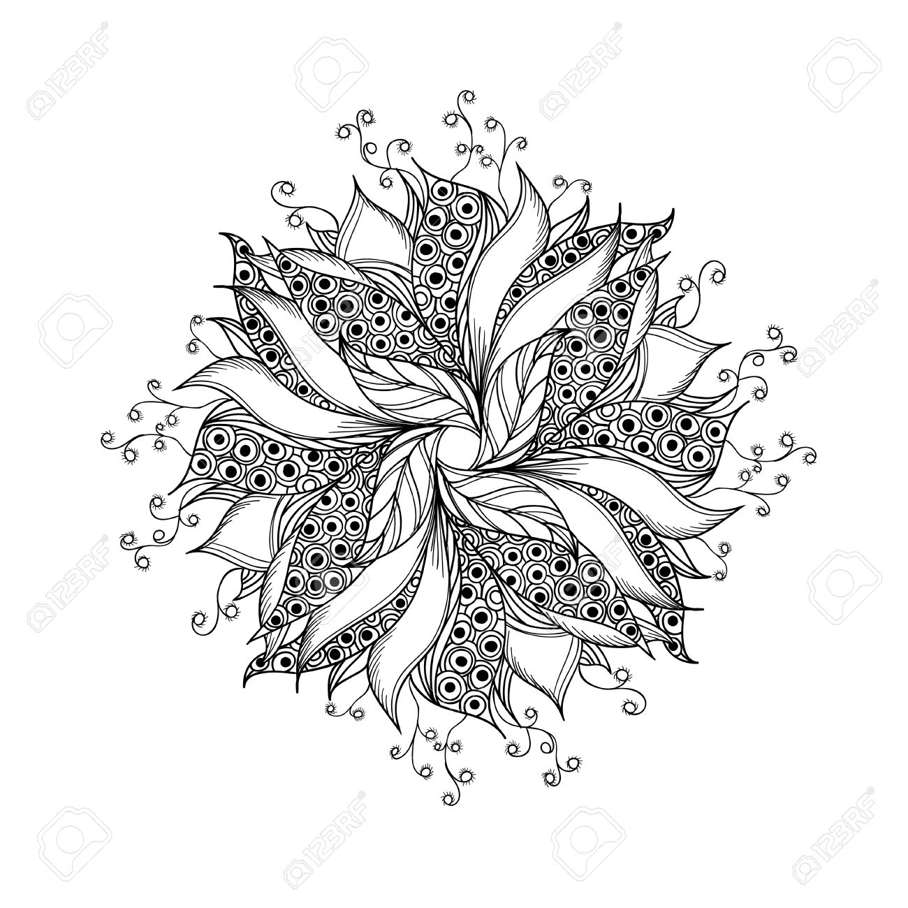 Blumen Tattoo Schwarz Weiß Stock Photo