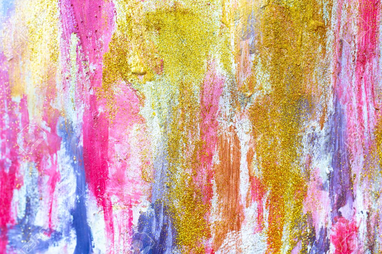Bright Colours Painting Abstract Streams Of Paints On The Wall Modern Textured Arts