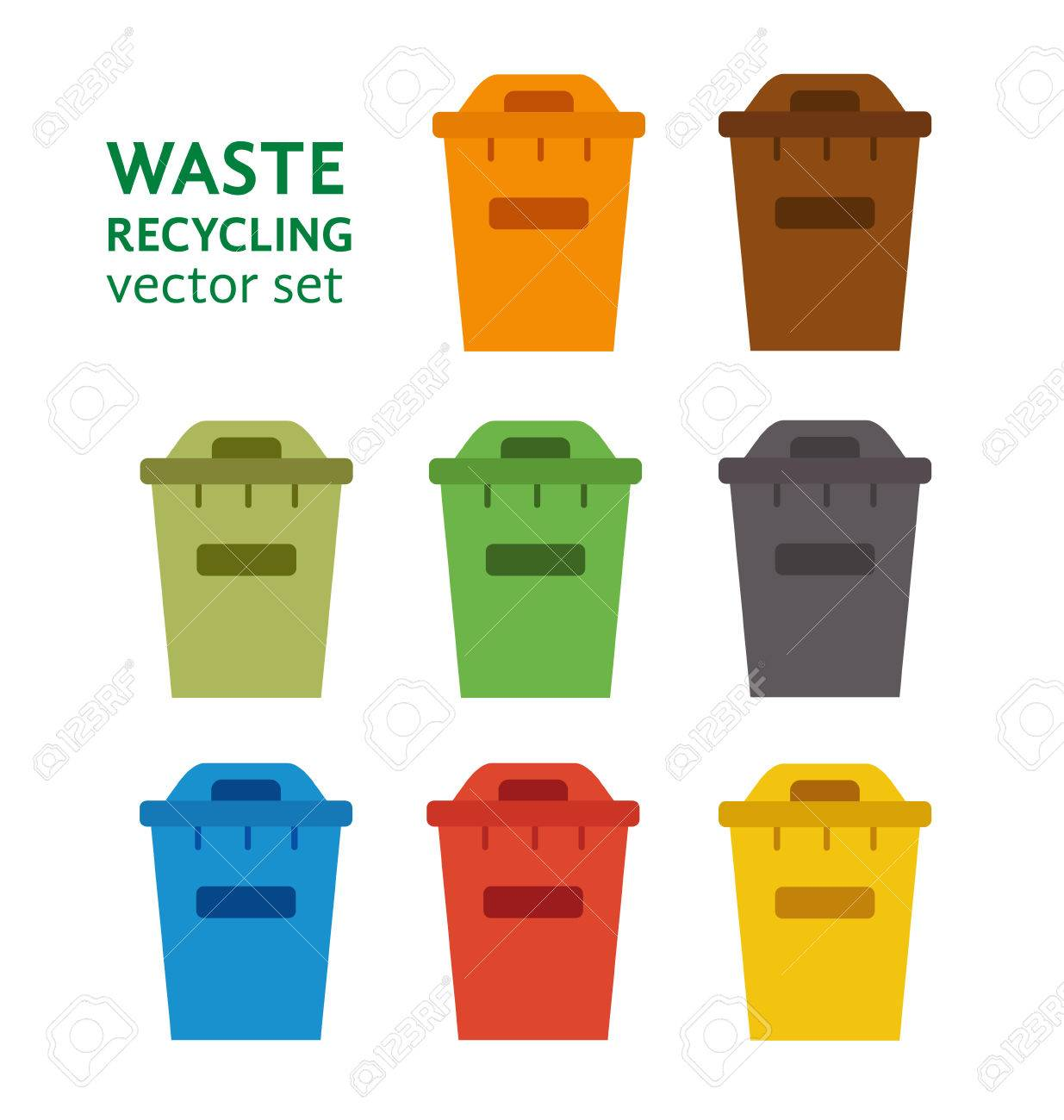 Colorful Garbage Cans Waste Sorting Garbage Bin Set Vector Waste Management And Recycle