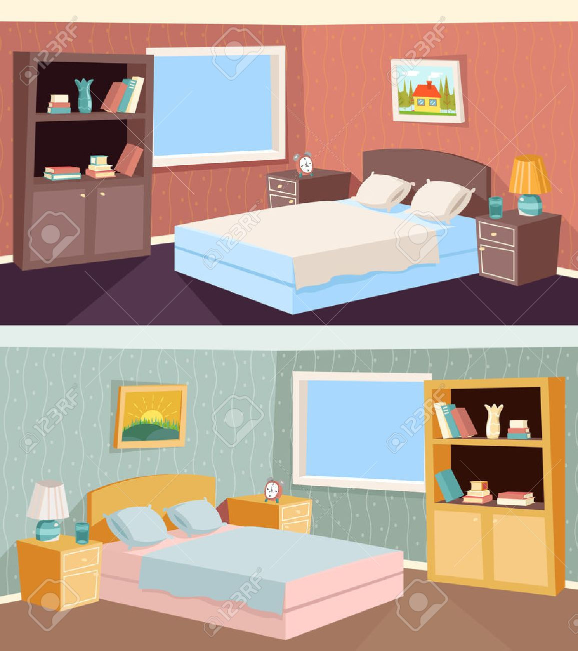 Chambre Appartement Appartement Cartoon Chambre Salon Intérieur De La Maison Chambre Retro Vintage Background Illustration Vecteur
