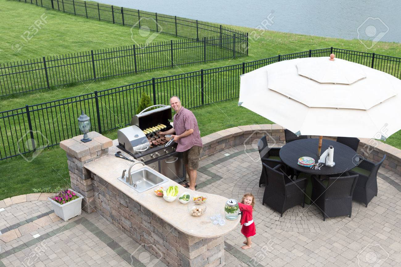 Grill Terrasse Stock Photo