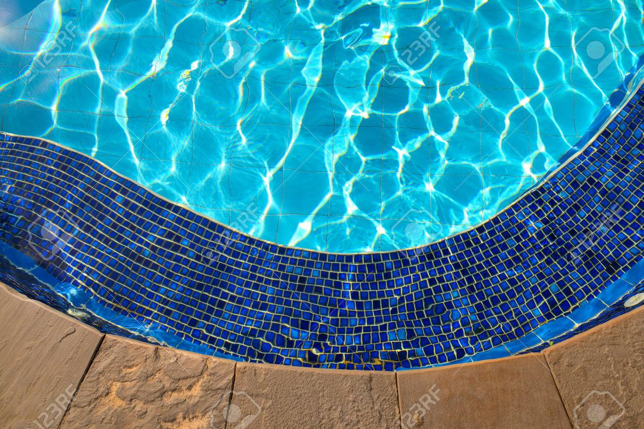 Jacuzzi In The Pool Blue Tiles Of Jacuzzi In The Swimming Pool Blue Water And Sunlight