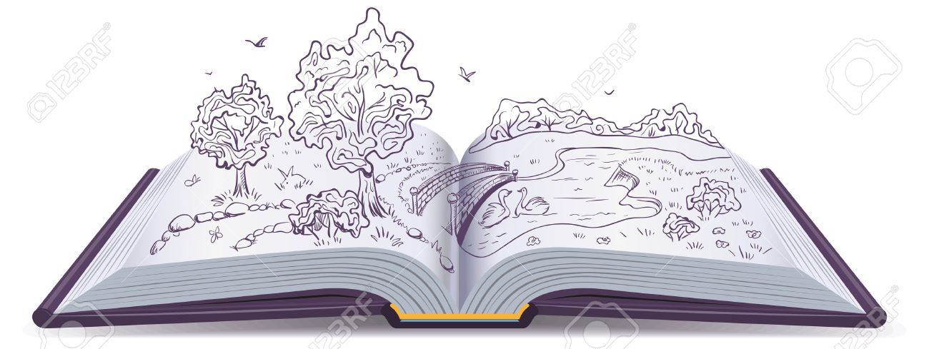 Meadow, River, Bridge And Trees In The Pages Of An Open Book - open book coloring pages