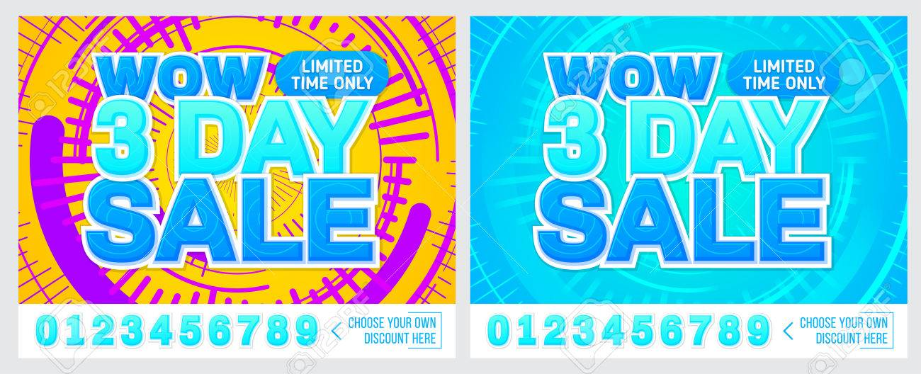 Sale Banner On Colorful Background 3 Day Only Sale Poster