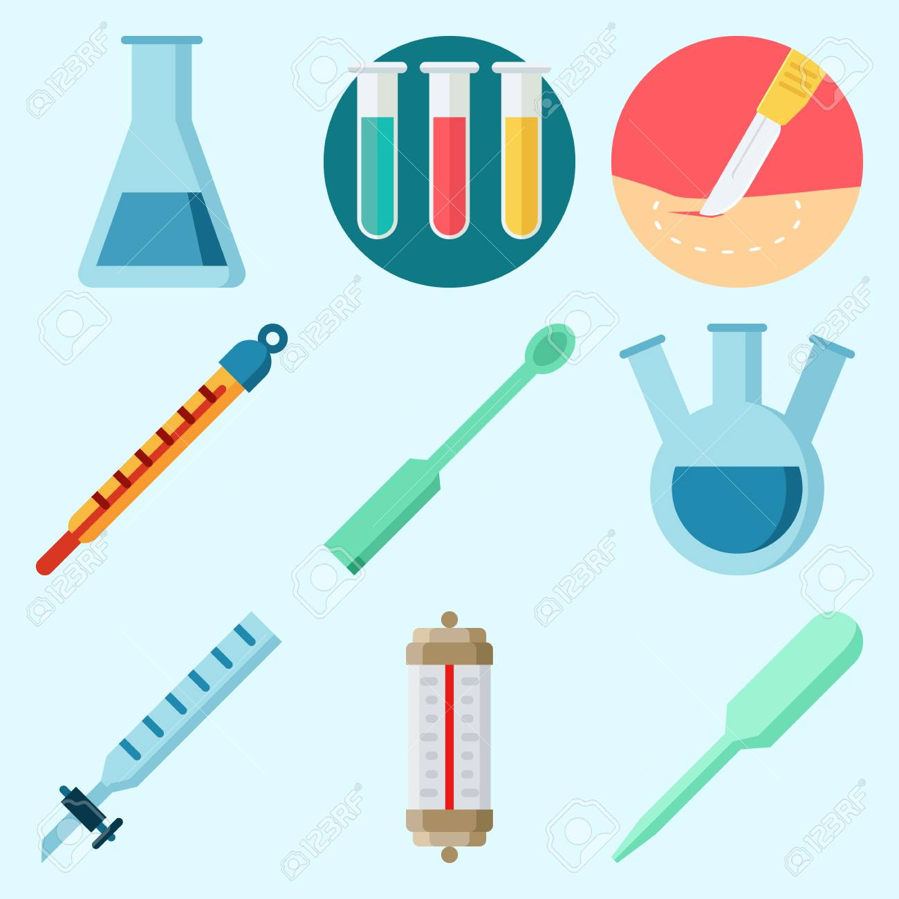 Thermometer Laboratory Apparatus Icons Set About Laboratory With Dropper Test Tube Thermometer