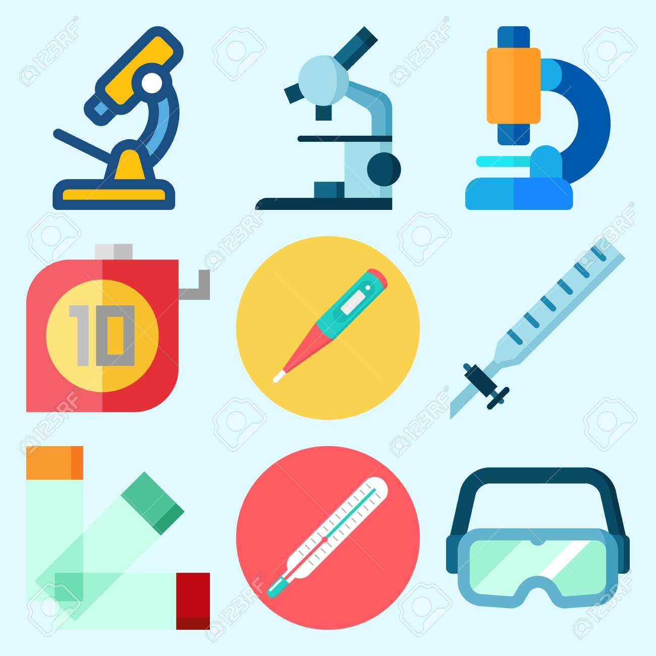 Thermometer Laboratory Apparatus Icons Set About Laboratory With Secure Glasses Thermometer