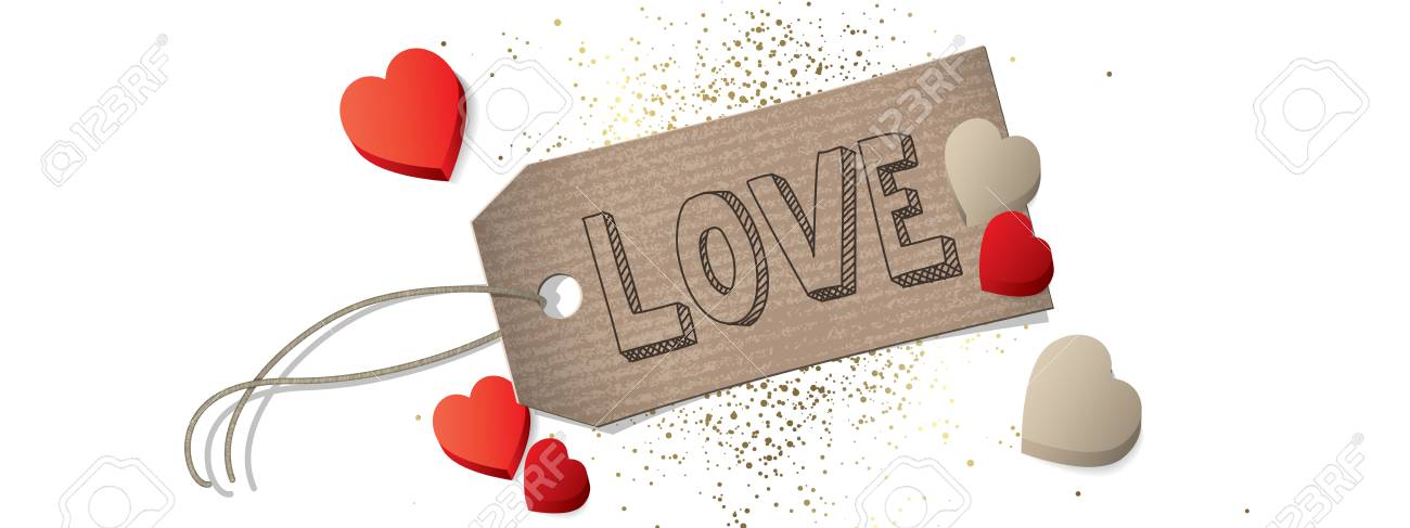Happy Valentines Day Label And Hearts Banner Royalty Free Cliparts