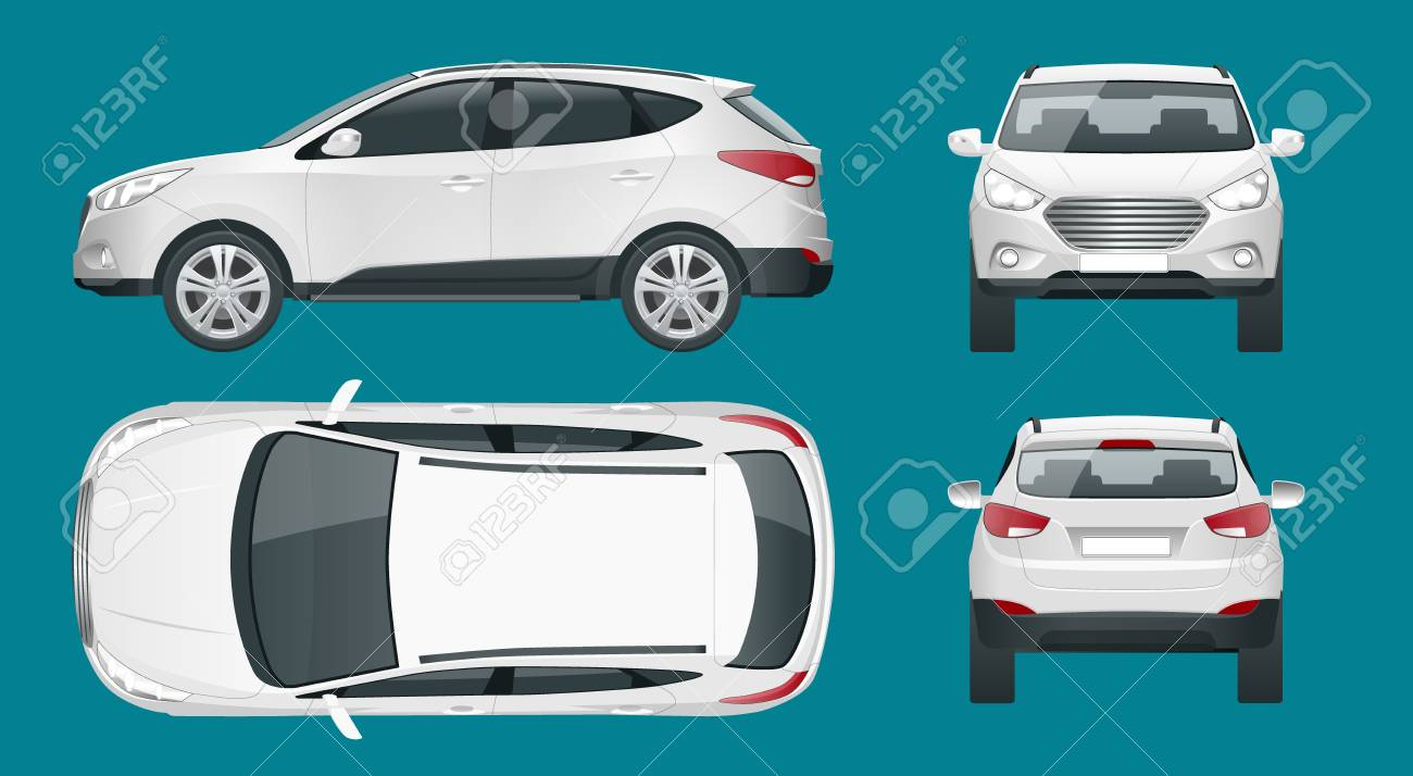 Cuv Car Car Vector Template On White Background Compact Crossover Cuv