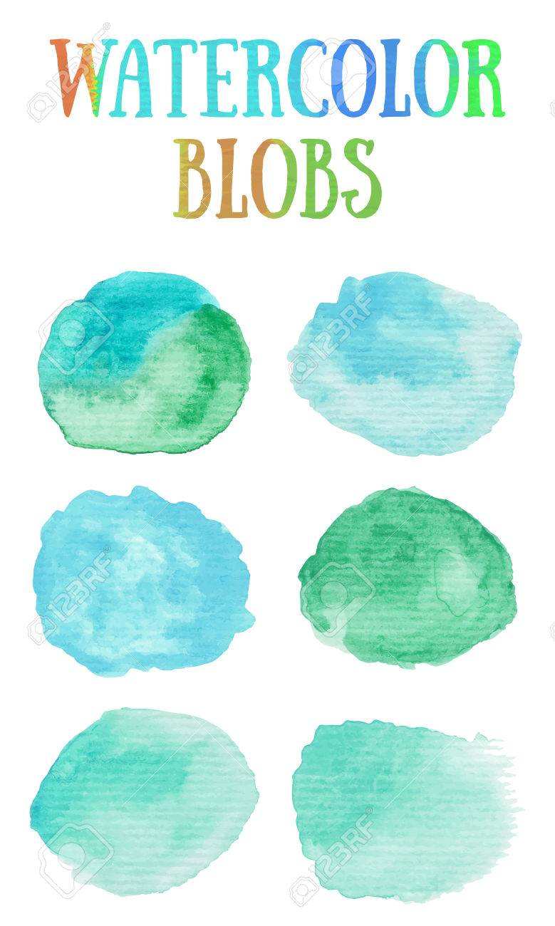 Nautical Paint Colors Hand Painted Watercolor Blobs Nautical Sky Blue And Sea Green