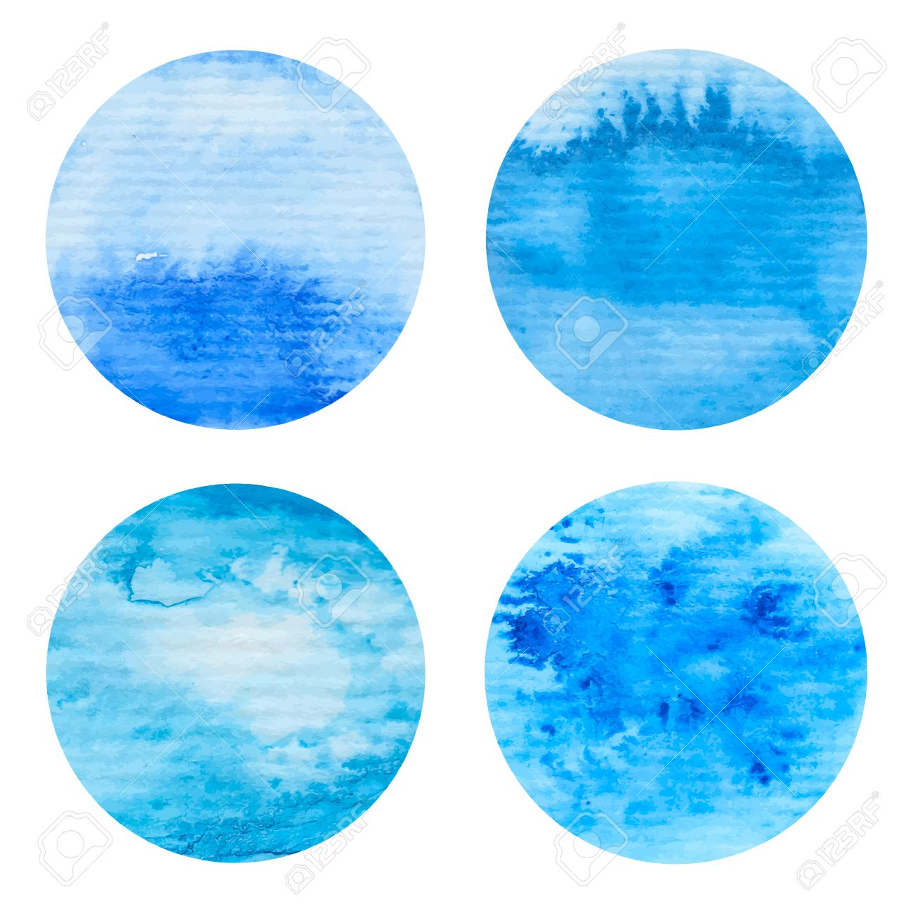 Nautical Paint Colors Hand Painted Watercolor Circles Set Nautical Sea Texture Blue