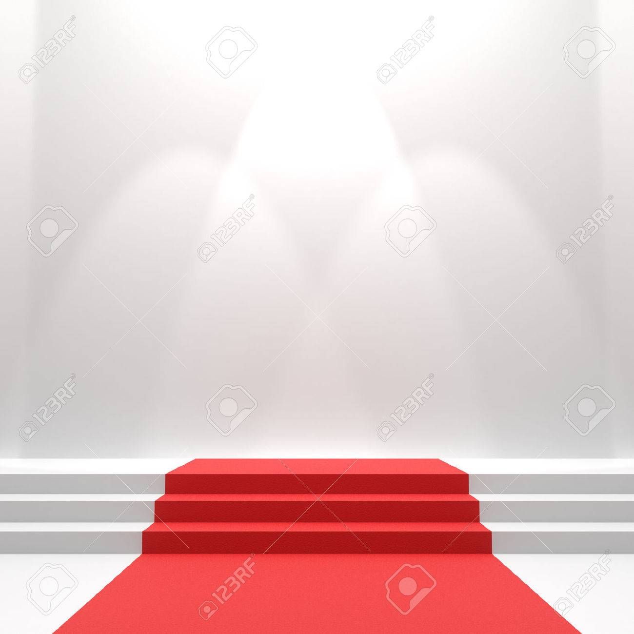 Roter Teppich In Weiß Stock Photo
