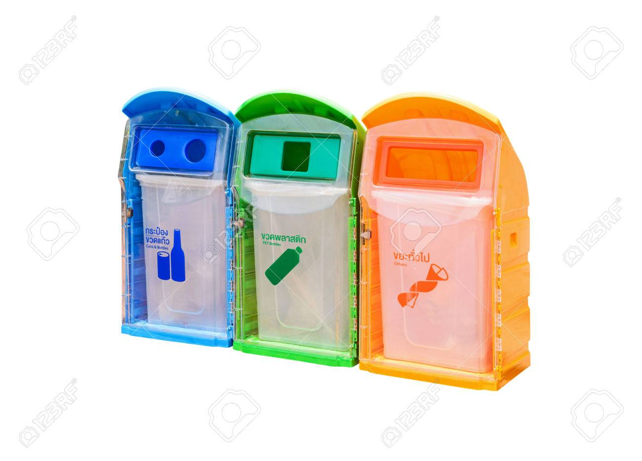Cool Trash Bins Three Plastic Trash Bins Recycle Bins Cans And Bottles Pet