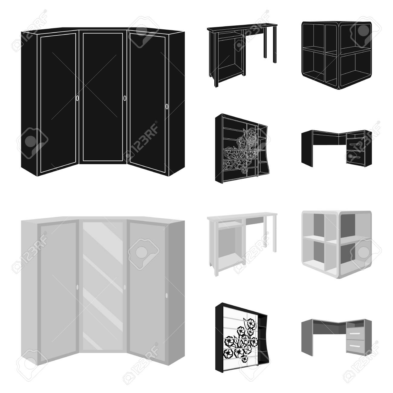 Dressing Table Corner Shelves Computer Desk Wardrobe With Royalty Free Cliparts Vectors And Stock Illustration Image 106763254