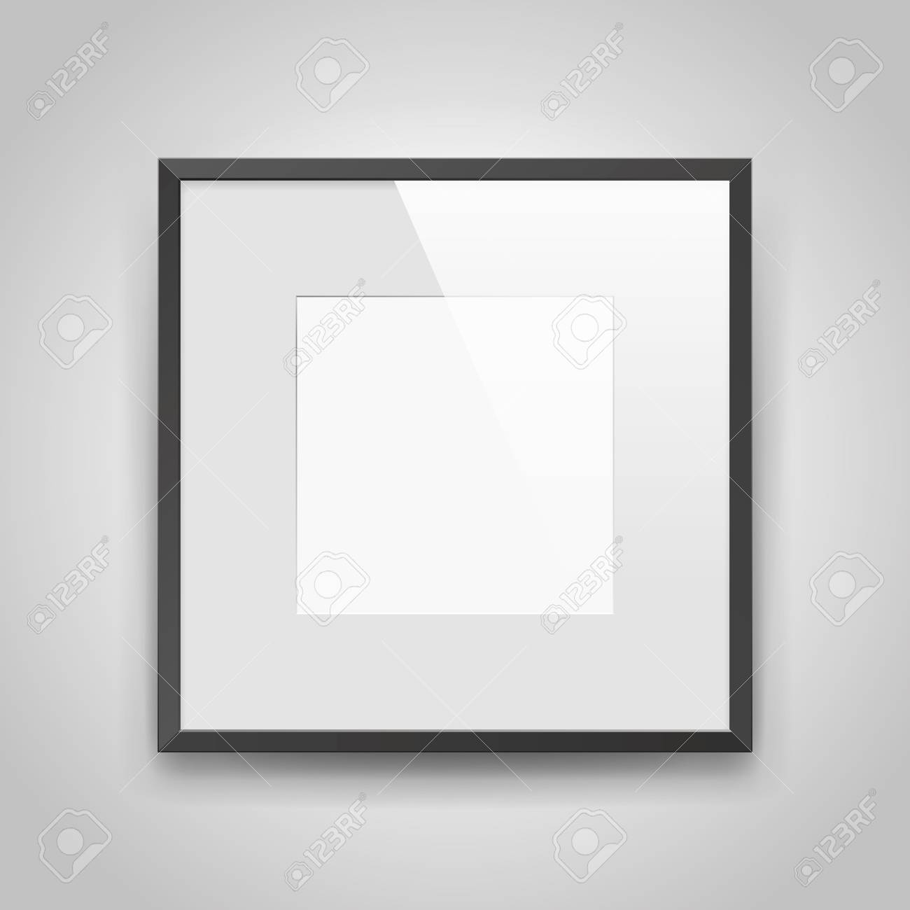 Foto Passepartout Realistic Empty Squre Black Frame With Passepartout On Gray Background
