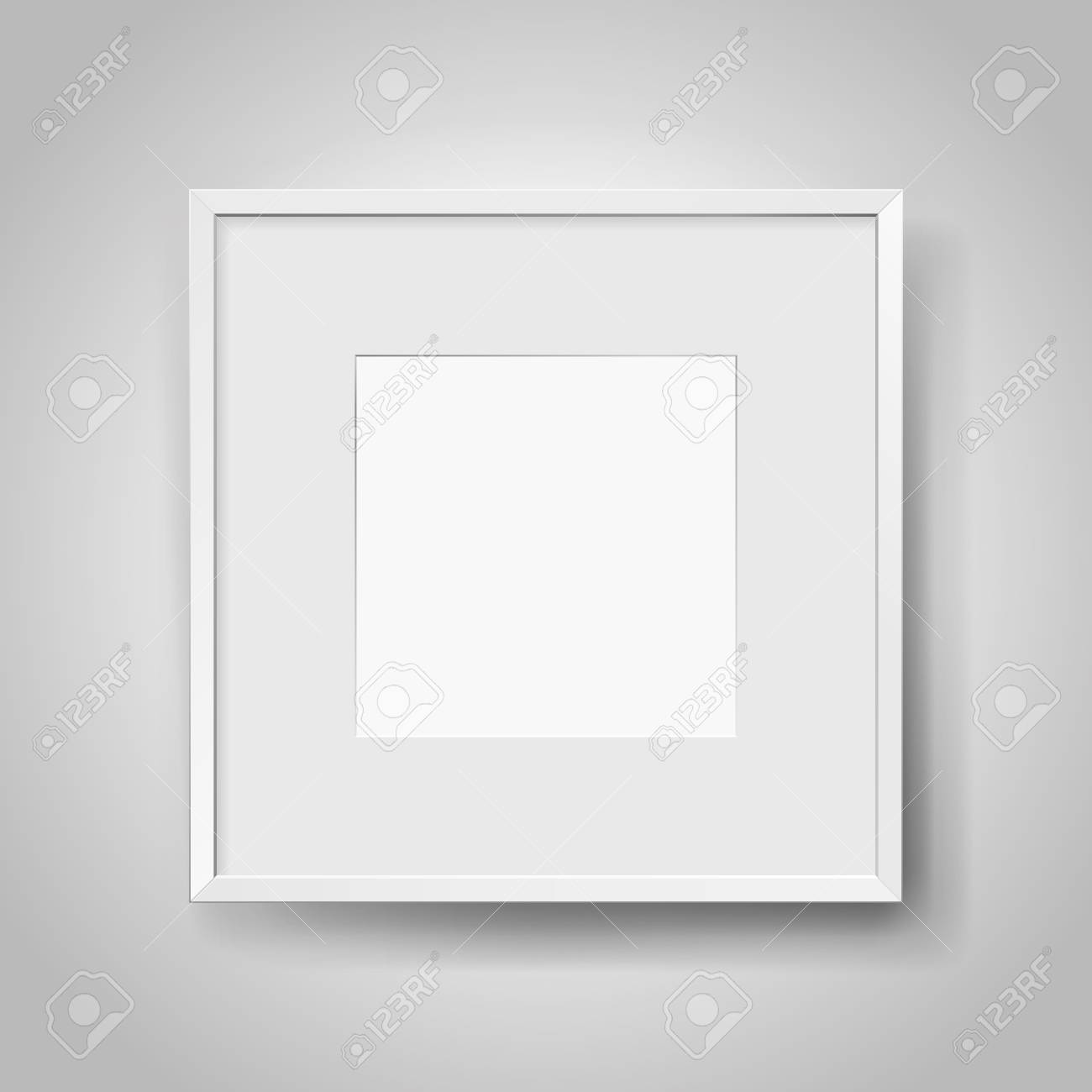 Foto Passepartout Realistic Empty Squre White Frame With Passepartout On Gray Background