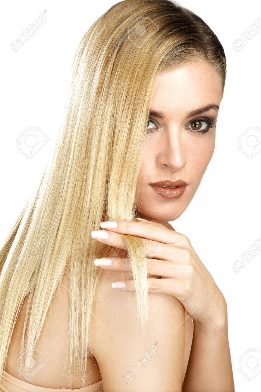 Blonde Glatte Haare Stock Photo