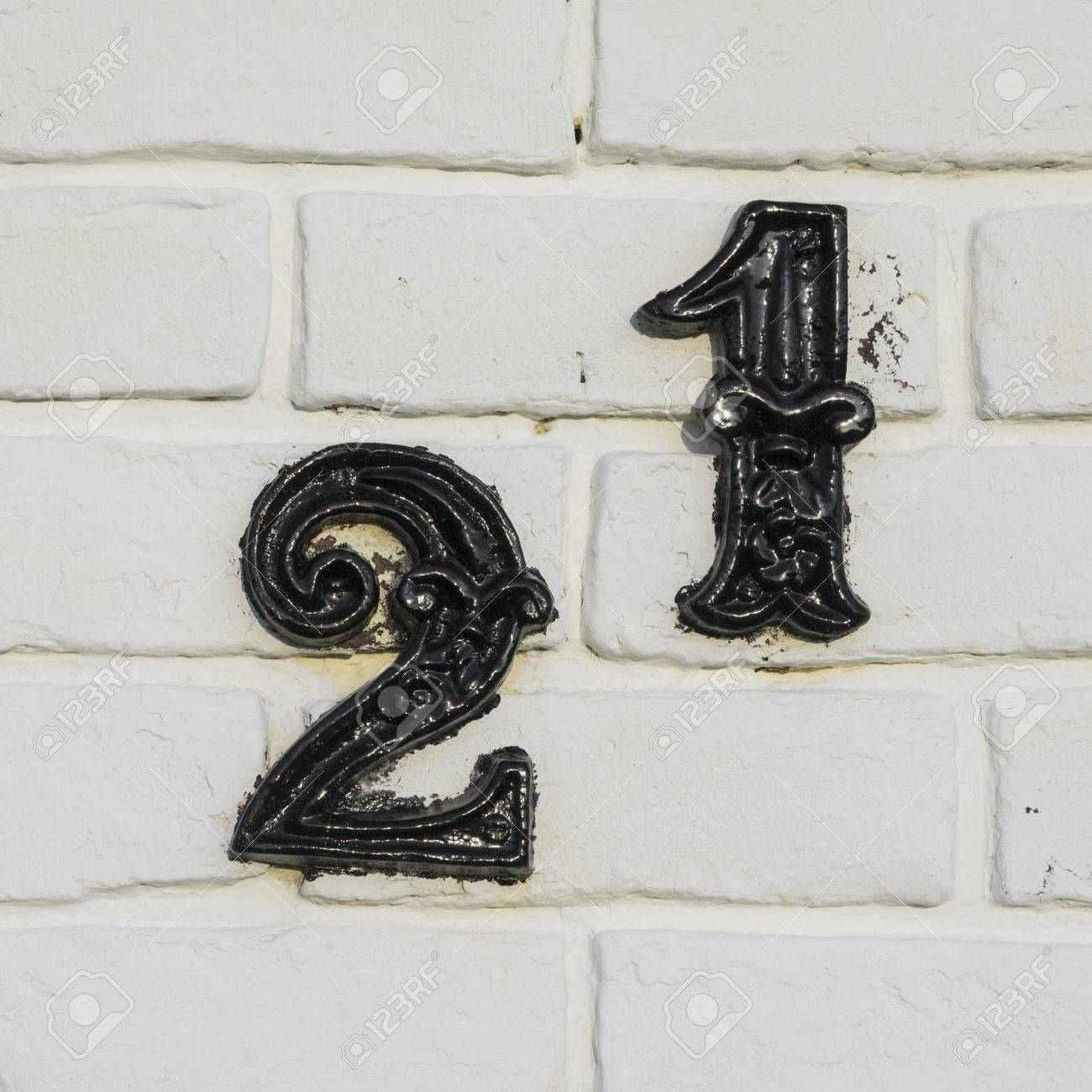 Hausnummernschild Selber Machen Cast Metal House Number Twenty One Separate Black Lettering