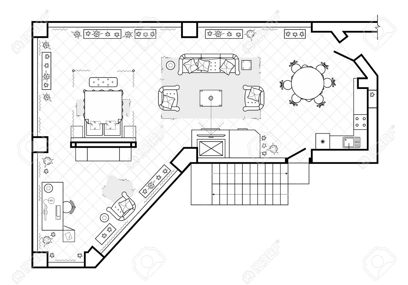 Plan Veranda Floor Plan Top View The Interior Design Terrace The Cottage
