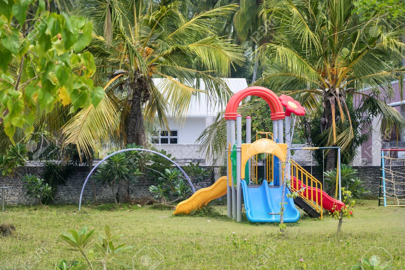 Outdoor Kinder Colorful Kinder Playground At Preschool Territory With Green
