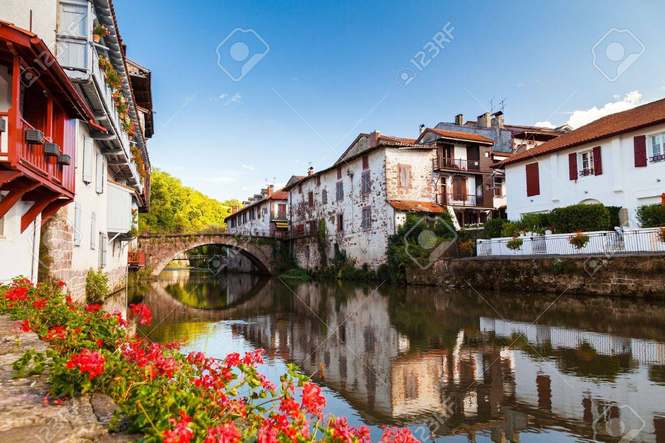 Saint Jean Pied De Port Bridge Over The Nive River At Saint Jean Pied De Port Pays Basque
